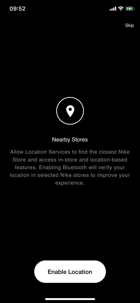 Nike Enable location services screenshot
