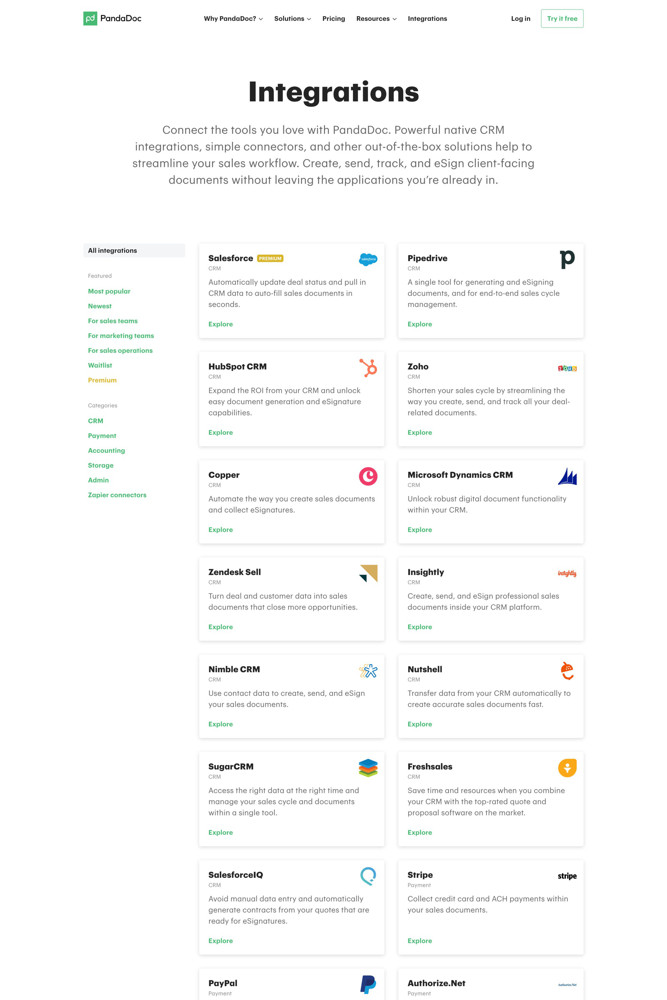 PandaDoc Integrations screenshot