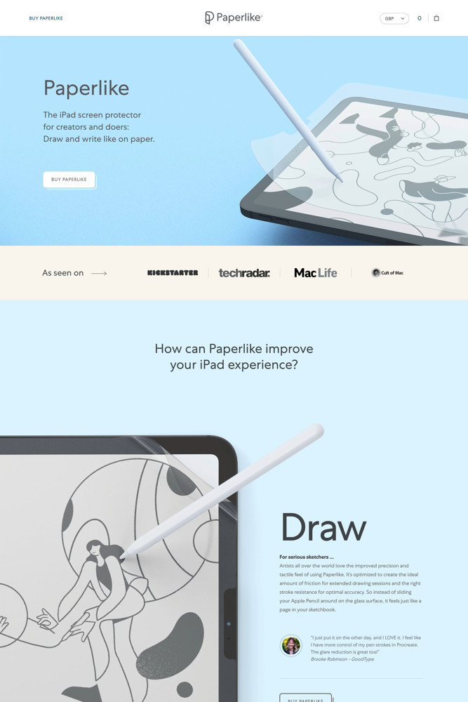 Paperlike Landing page screenshot