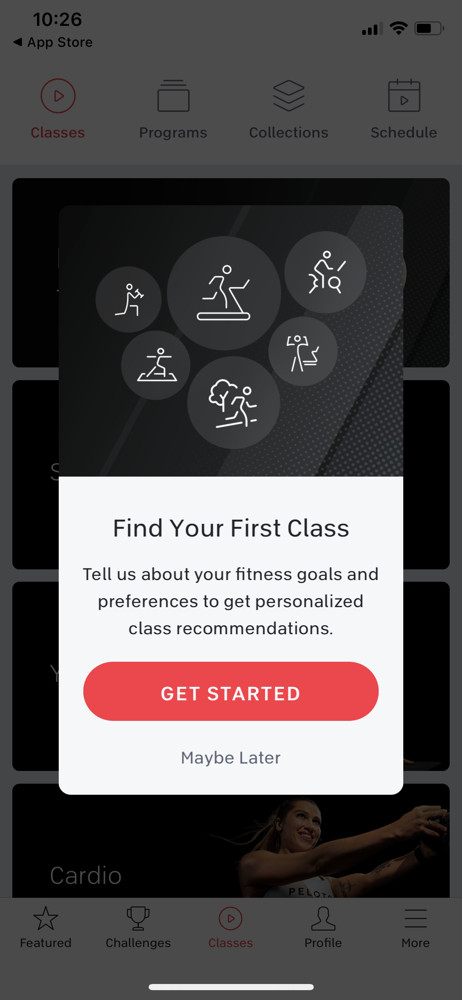 Peloton Find classes screenshot