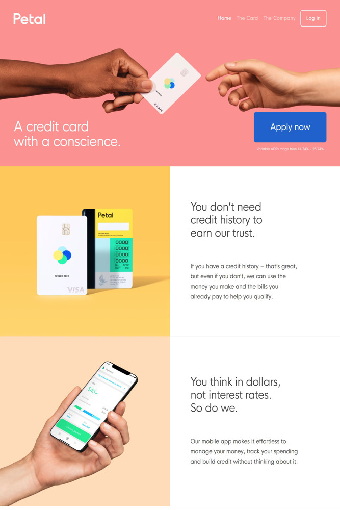 Petal Landing page screenshot