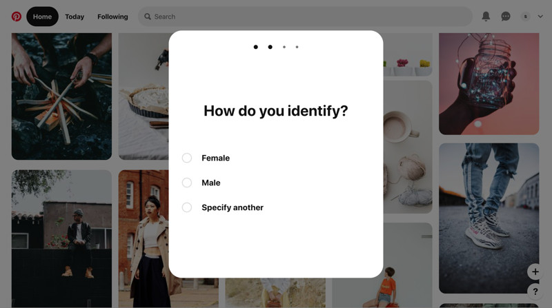 Pinterest Select gender screenshot