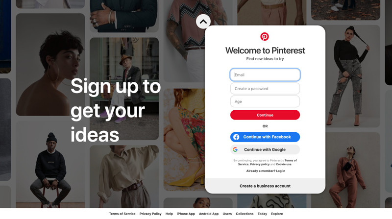 Pinterest Sign up screenshot