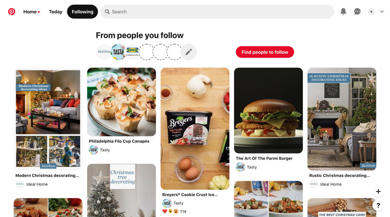 Pinterest Following screenshot