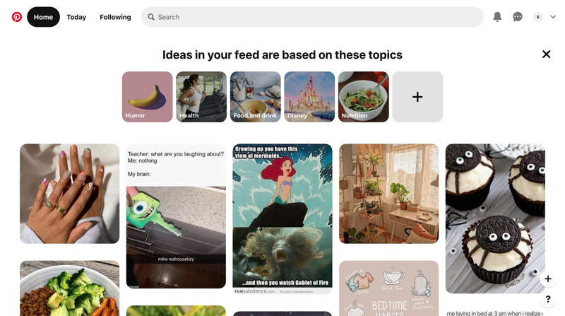 Pinterest Home screenshot