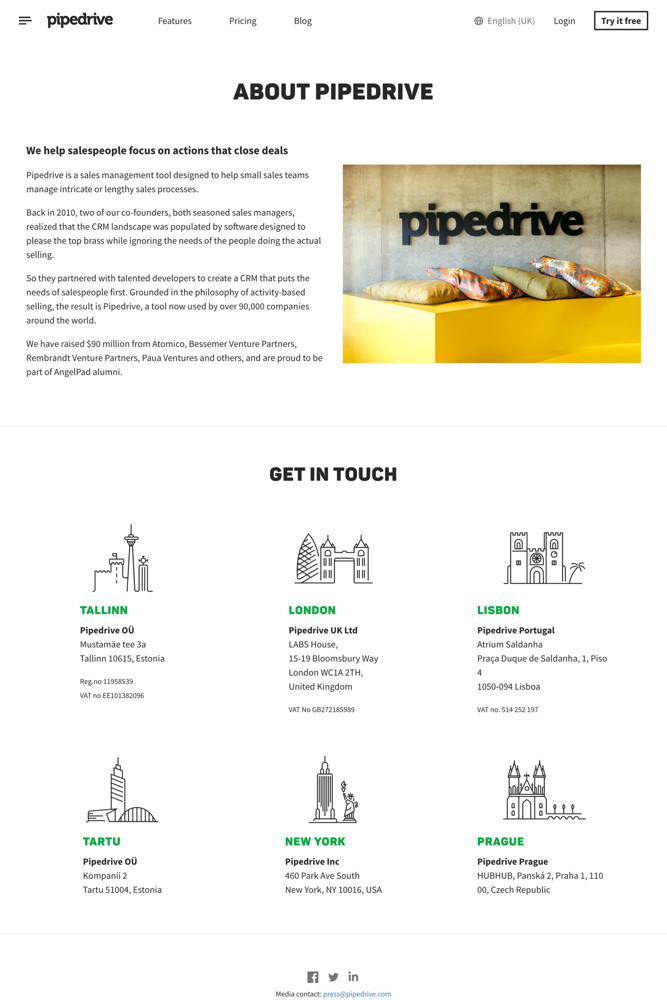 Pipedrive About screenshot