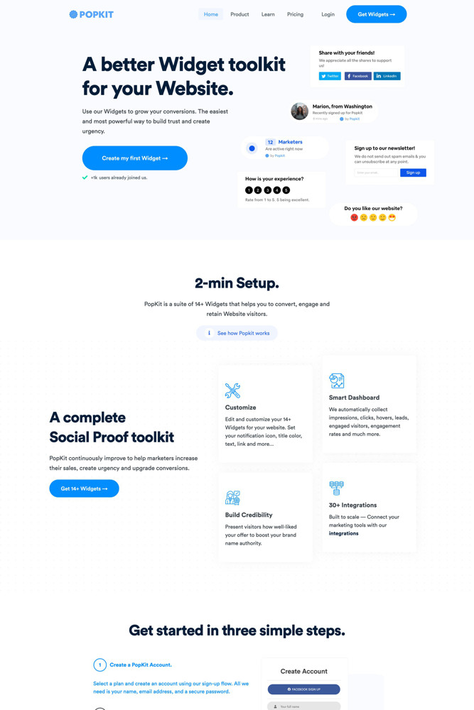 PopKit Landing page screenshot