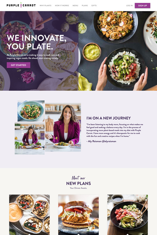 Purple Carrot Landing page screenshot