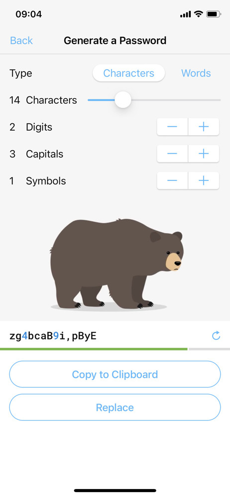 Remembear Generate password screenshot