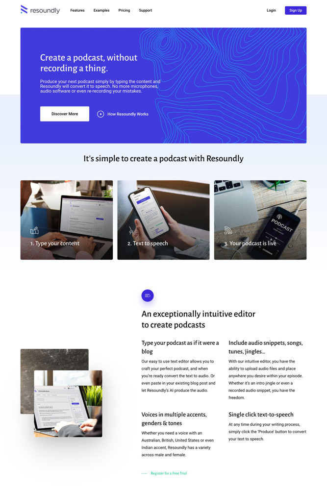 Resoundly Landing page screenshot