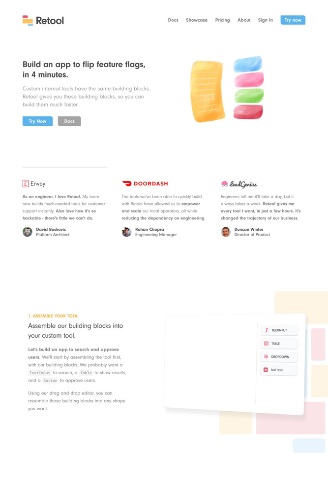 Retool Landing page screenshot