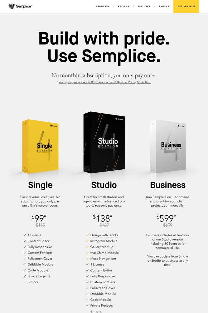 Semplice Pricing screenshot