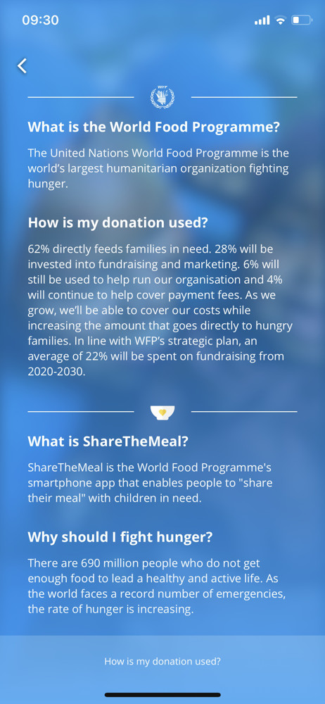 ShareTheMeal FAQ screenshot