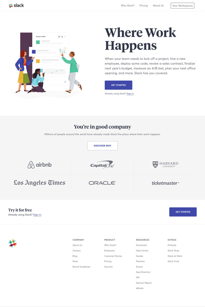 Slack Landing page screenshot
