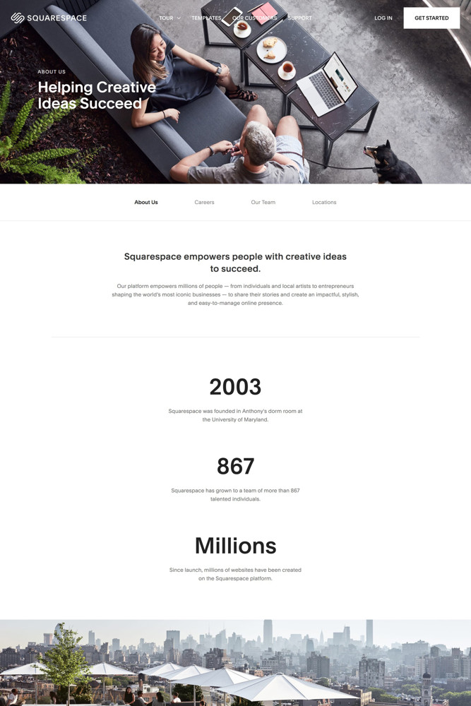 Squarespace About screenshot