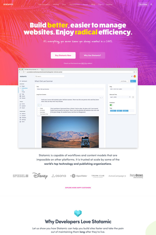 Statamic Landing page screenshot