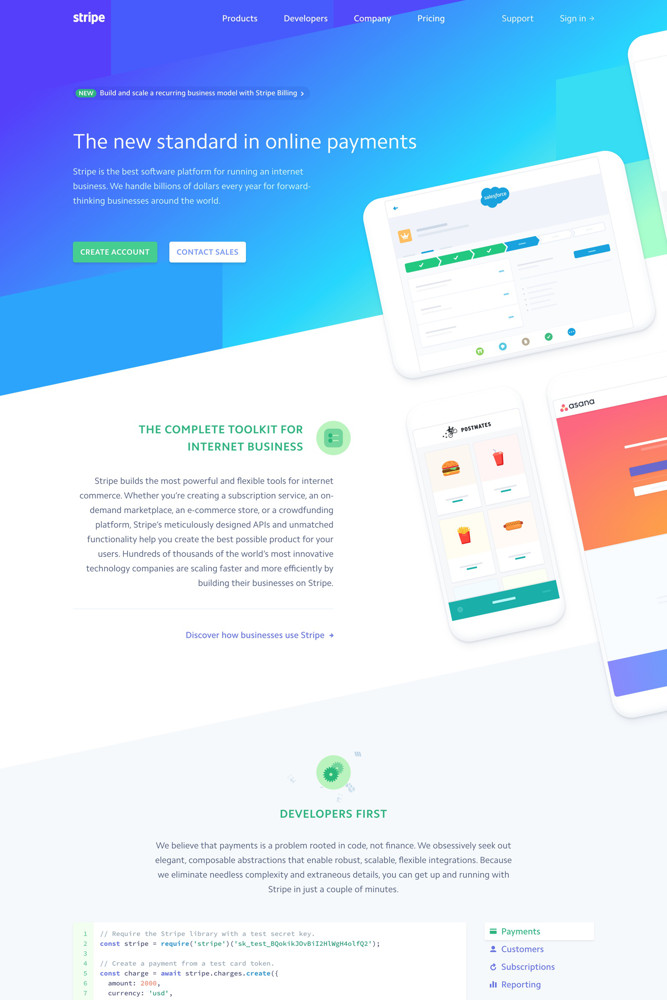 Stripe Landing page screenshot