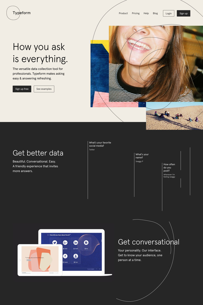 Typeform Landing page screenshot