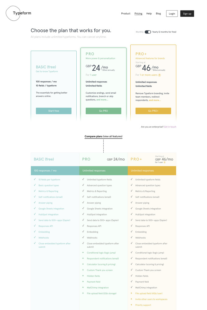 Typeform Pricing screenshot