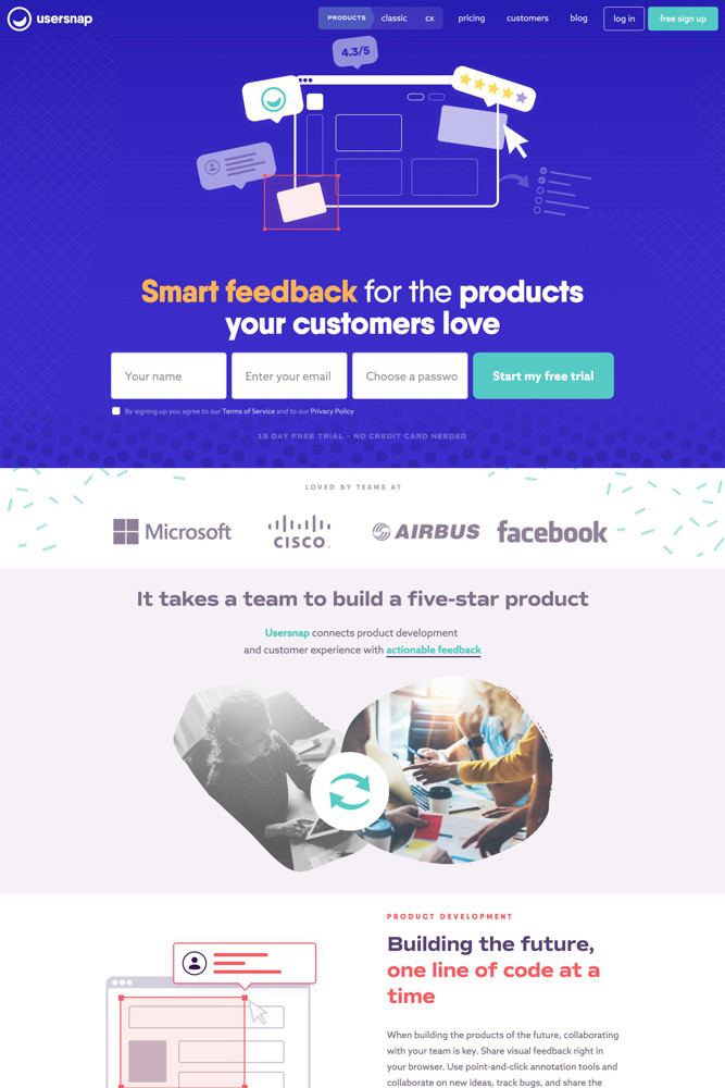 Usersnap Landing page screenshot