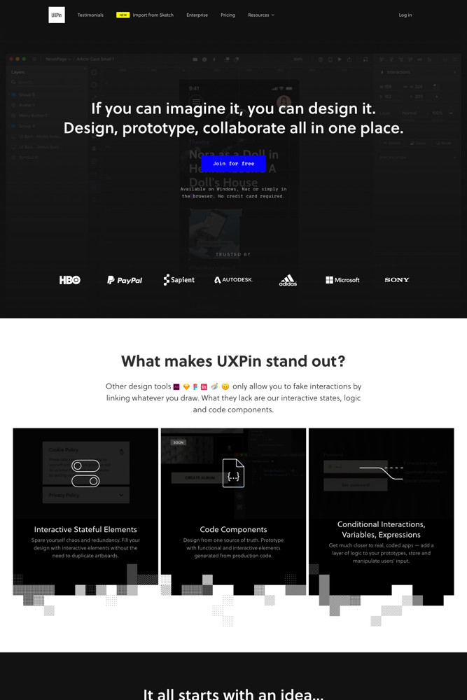 UXPin Landing page screenshot