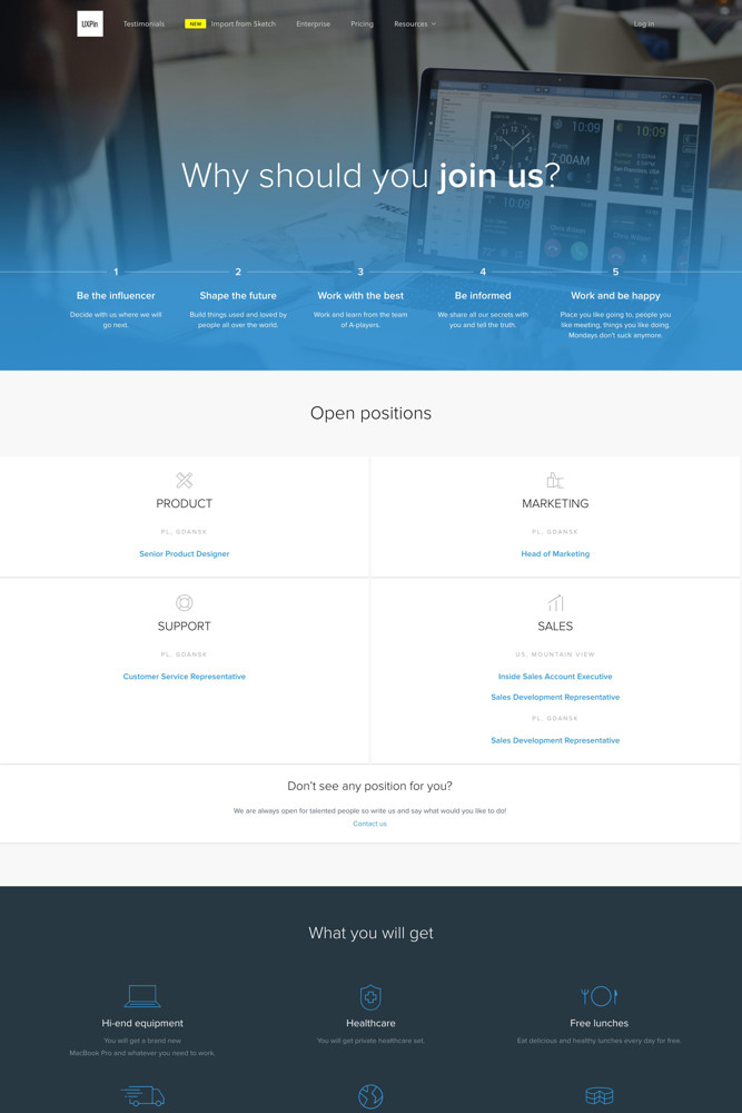 UXPin Careers screenshot