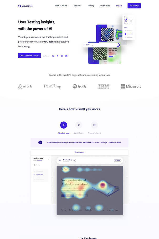 VisualEyes Landing page screenshot