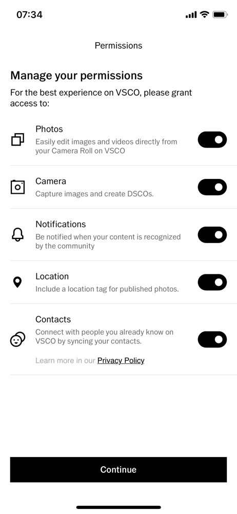 VSCO Permissions screenshot
