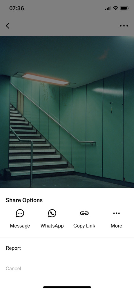 VSCO Share sheet screenshot