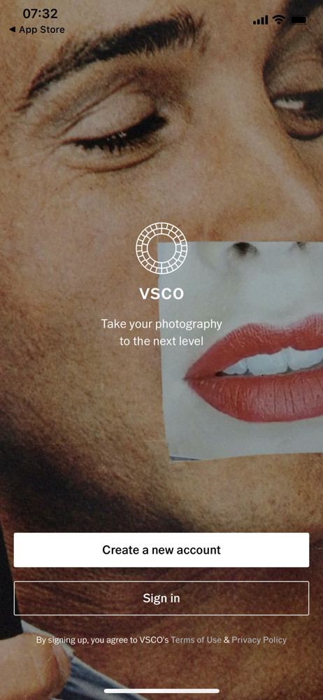 VSCO Start screen screenshot