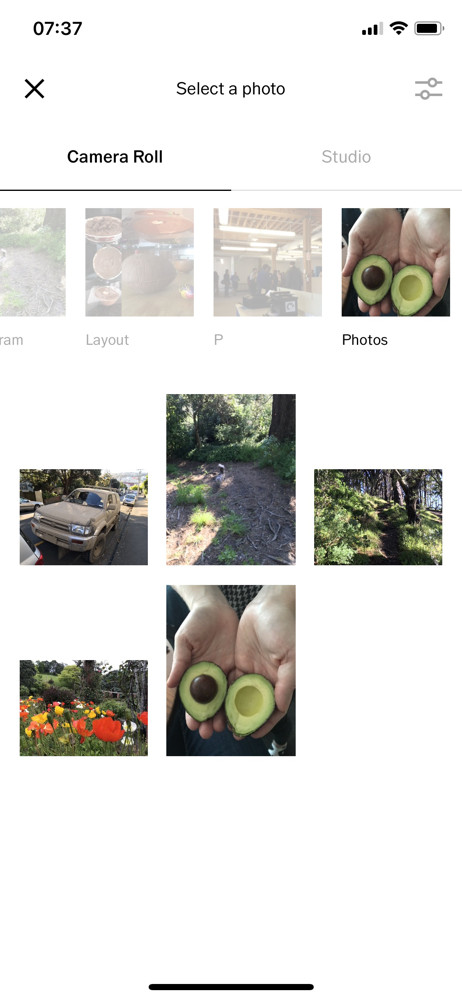 VSCO Select a photo screenshot