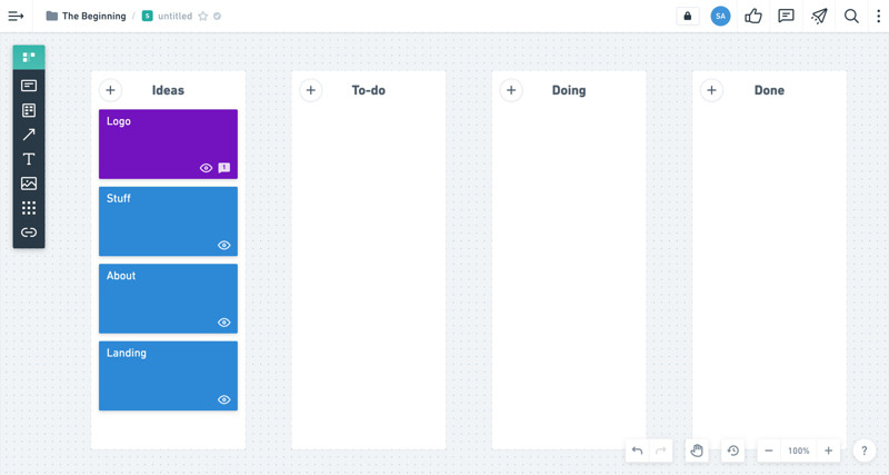 Whimsical Kanban board screenshot