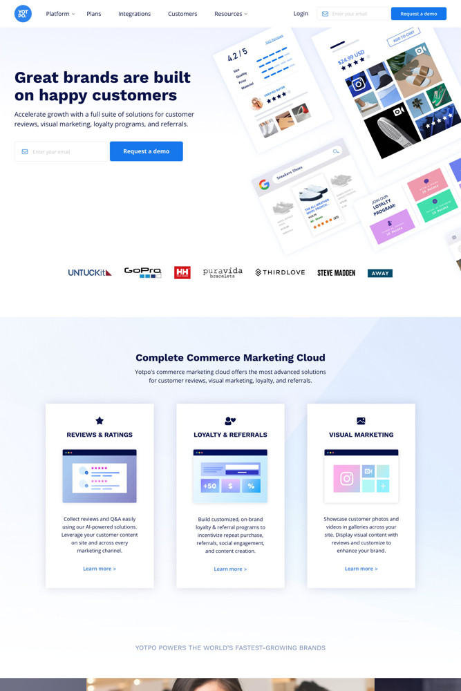 Yotpo Landing page screenshot