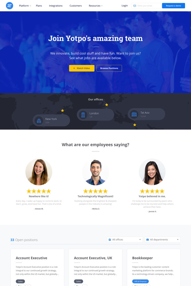 Yotpo Careers screenshot
