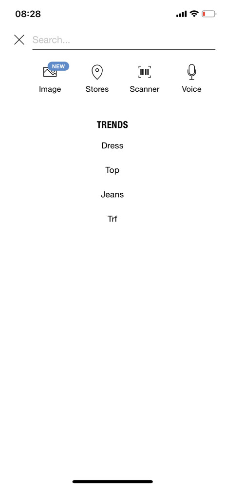 Zara search screenshot