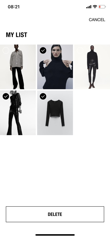 Zara saved items screenshot