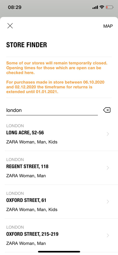 Zara store finder screenshot