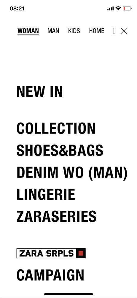 Zara navigation menu screenshot