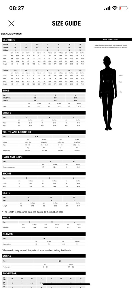 Zara size guide screenshot