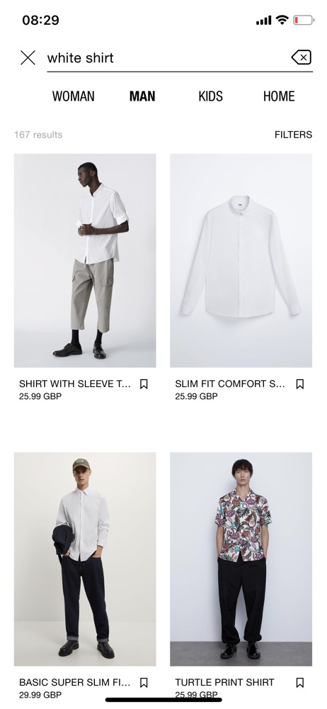Zara search results screenshot