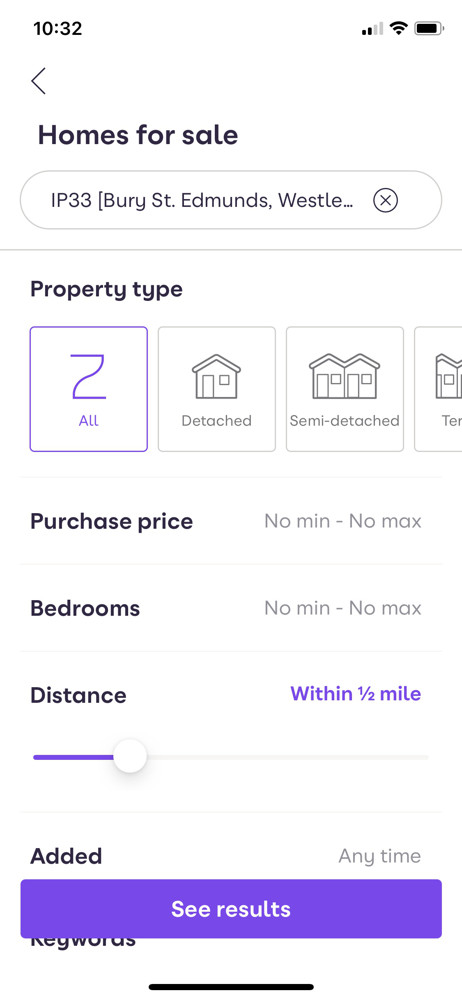 Zoopla Filter screenshot